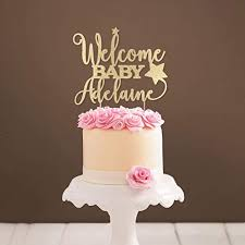 <b>Personalized</b> Star <b>Welcome</b> Baby Cake Topper <b>Baby Shower</b> Cake ...