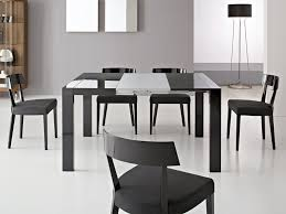 stunning expandable dining table set in black on white ceramics floor matched with grey ceramics floor black white modern kitchen tables
