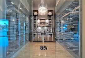 simple glass encloses wine cellar with fridges stact wine racks and tasting home design decoration ideas modern box version modern wine cellar