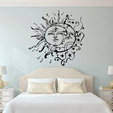 sun wall decal trendy designs: sun and moon wall decal sun moon and stars wall decals ethnic decor bedroom