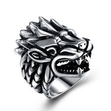 Vintage Dragon Head Titanium Steel Men Ring Sale, Price ...