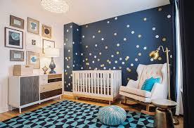 bold cool nursery room with blue color and night sky theme by suzann kletzien design baby nursery cool bedroom
