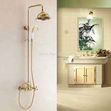 golden bathroom shower column faucet wall: free shipping promotion luxury wall mounted golden finish shower faucet set rain shower tub mixer tap
