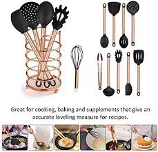 <b>11PCs Silicone Cooking</b> Kitchen Utensils Set Copper Plated Handle ...