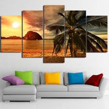 Canvas Paintings HD Prints Posters <b>5 Pieces</b> Tropical Beach Palm ...