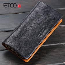 <b>AETOO Original handmade</b> wallet men and women zipper clutch ...