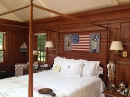 modern natural design of the bedroom wood wall panel
