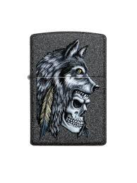 <b>Зажигалка ZIPPO Wolf Skull</b> с покрытием Iron Stone , латунь/сталь ...
