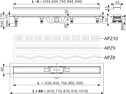 Душевой <b>лоток AlcaPlast</b> APZ9-Simple 550 с <b>решеткой</b> и опорами ...