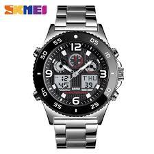 Skmei <b>Men's Dual Display</b> Alarm Date Analog Digital Watch 3 Time ...