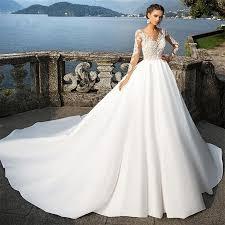 <b>2017 new</b> long-sleeved V-neck white / <b>ivory</b> wedding dress elegant ...