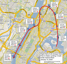 Approximate flight path of US Airways Flight 1549 prior to crash / water landing on the Husdon River in New York City on January 15, 2009. Jim