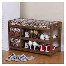NIUZIMU Wooden Shoe Rack with Two <b>Storage</b> Baskets <b>Solid</b> ...