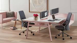 bivi modular desk system in pink finish with 2 desks and rumble seat attachments fabric bivi modular office furniture