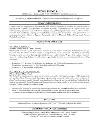free private banker resume example