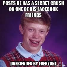 posts he has a secret crush on one of his facebook friends ... via Relatably.com