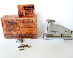 ace scout stapler working in original box with staple box iob vintage stapling machine antique office supplies equipment desk accessories century office equipment