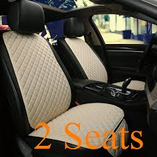 2 PCS Flax <b>Car Seat</b> Cover Protector Front Seat <b>Back Cushion</b> Pad ...