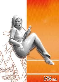 Unassambled <b>1/24</b> 75MM modern woman STAND modern Historical ...