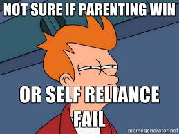 Not sure if parenting win or self reliance fail - Futurama Fry ... via Relatably.com