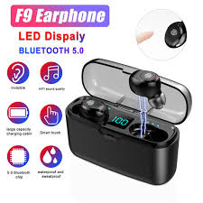 f9 <b>tws</b> bluetooth 5.0 mini earphone hifi stereo fingerprint touch mic ...