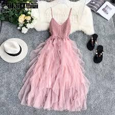 Irregular Mesh Knit <b>Strap Dress</b> Women <b>2019</b> Beach Style V collar ...
