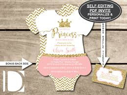 baby shower ticket little princess baby shower invitation onesie invitation tutu pink gold glitter chevron self editing pdf invite bonus raffle ticket