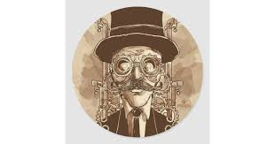 <b>Steampunk</b> Man <b>Hand Painted Vintage</b> Art Classic Round Sticker ...