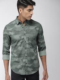 Buy HIGHLANDER <b>Men</b> Green Slim Fit <b>Camouflage</b> Print <b>Casual</b> ...