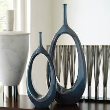 table unique silver vase celestial blue large open oval ring vase only