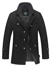 Mordenmiss Men's Quilted <b>Wool</b> Coat Slim Fit Single Breasted <b>Thick</b> ...
