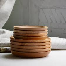 japanese wood plate round shape home supplies kitchen tool wood dishes dinnerware table tools circle round brown solid wood shape home