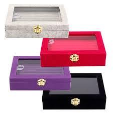 <b>4 Colors</b> Velvet Jewelry Box Show Case Tray Rings Earings ...