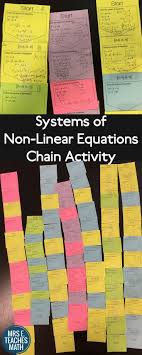 images about teaching math algebra systems of non linear equations chain activity fun activity for algebra 2 or pre