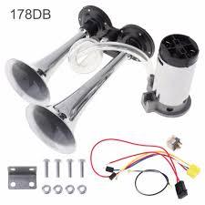 <b>178dB 12V</b> Super <b>Loud Dual</b> Tone Car Air Horn Set Trumpet ...