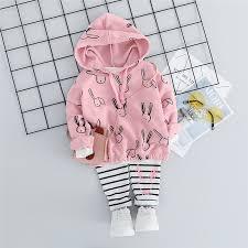 <b>Baby Girls Autumn</b> Rabbit Pattern Hoodie and Stripe <b>Pants</b> Set » Blu ...