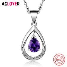 <b>AGLOVER</b> Charm 925 <b>Silver</b> Necklace Women Fine Jewelry <b>100</b> ...