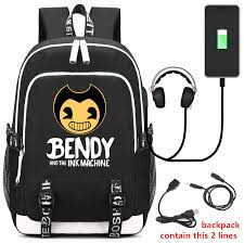 <b>2019 New Bendy and</b> The Ink Machine Backpack USB Charging ...