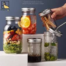 BANFANG Mason Jar with 2 Lids glass bottle Ideal for Canning ...