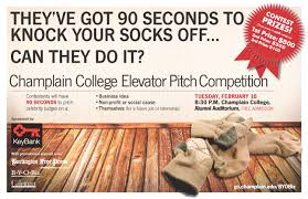 elevator pitch competition ready to knock your socks off poster for the elevator pitch compeition at champlain college