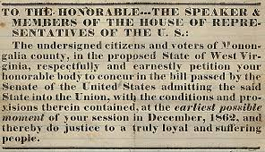 「West Virginia is admitted into the Union as the 35th U.S. state,」の画像検索結果
