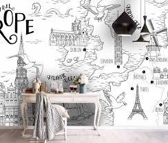 3D Black White <b>Simple World Map Wall</b> Mural Wallpaper 132 ...