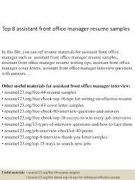 top8assistantfrontofficemanagerresumesamples 150410094018 conversion gate01 thumbnail 4 jpg cb 1428676863