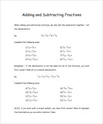 15+ Adding And Subtracting Fractions Worksheets – Free PDF ...Adding and Subtracting Fractions Worksheets 4th Grade