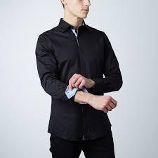 Monroe Dress Shirt // Black + Light <b>Blue Pattern</b> | Black shirt dress ...