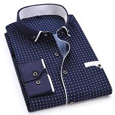 <b>Fashion Print Casual Men</b> Long Sleeve Button Shirt Stitching Pocket ...