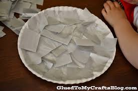paper plate shark kid craft first cut your tissue paper into small squares slather a good amount of glue all over the paper plate ask your child to completely cover their paper