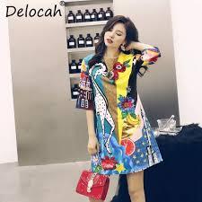 ซื้อที่ไหน Delocah 2018 <b>Autumn</b> Women Dresses Fashion <b>Runway</b> ...