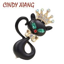 CINDY XIANG Black Color Enamel Wearing Crown Small ... - Qoo10