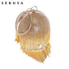 <b>Sekusa Tassel Rhinestones Women</b> Evening Bags Chain Shoulder ...